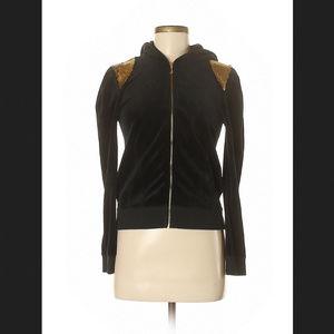 Juicy Couture Black Velour Hoodie Gold Sequin Sz M
